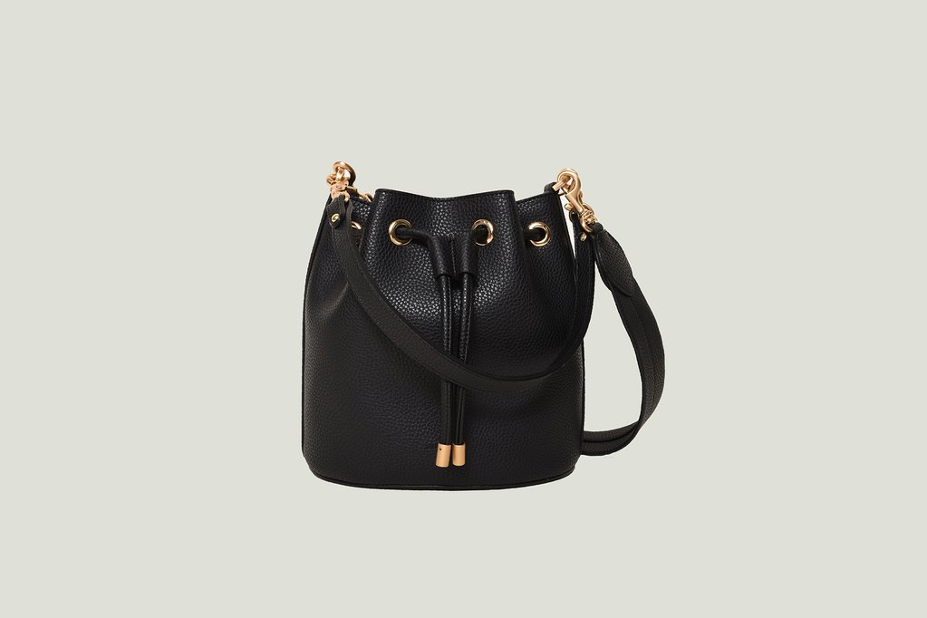 Madeline Mini Bucket bag in Black. Image courtesy Angela Roi.