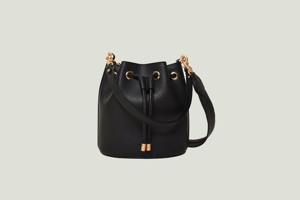 Madeline Mini Bucket bag in Black. Image courtesy Angela Roi.