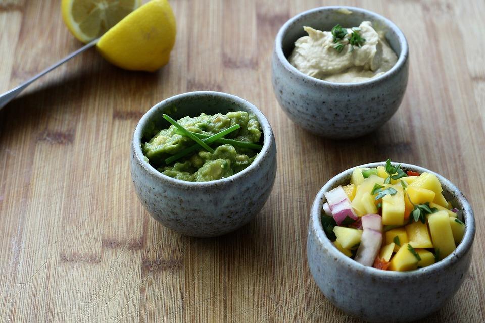 Tray Hummus Salsa Appetizers Food Guacamole Mango